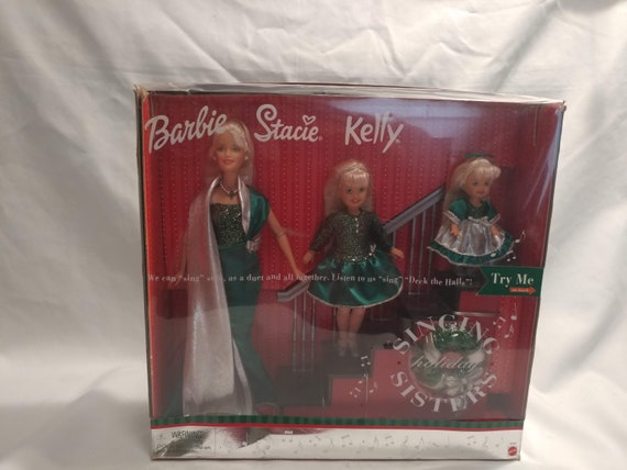 FREE SHIPPING- Barbie, Stacy & Kelly Singing Holiday Sisters Barbie Doll Set. 3 Dolls. New In Box. Requires 3- AA Batteries
