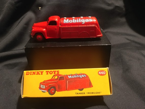 FREE SHIPPING- Vintage Dinky Toy Car in Original Box # 440- Red Tanker Truck- Mobilgas Logo