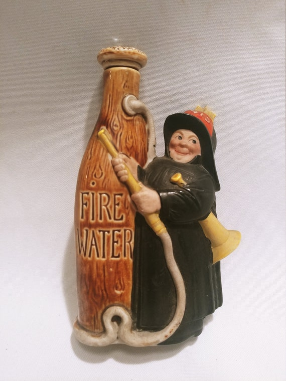 "FREE SHIPPING -Vintage Porcelain German Made ""Nipper"" Bottle with Original Corked Stopper. Firefighter/ Fire Water."
