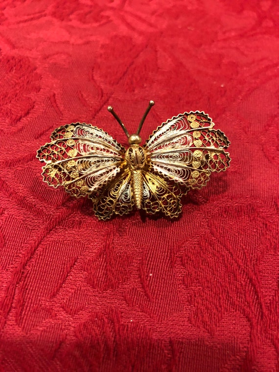FREE SHIPPING-Vintage Gold Vermeil-Overlay- Butterfly Pin/Brooch