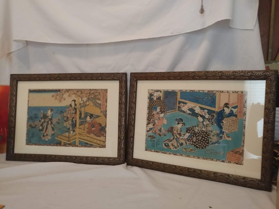 FREE SHIPPING- Pair of 2 Antique Utagawa Kunisada Japanese Woodblock Prints. Matted & Framed.
