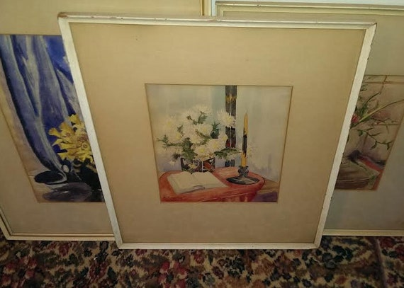 FREE SHIPPING-Nathalie Yehling-Signed-1930's-Floral-Still Life-Watercolor-Listed St. Louis Missouri Artist-1936