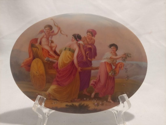 """FREE SHIPPING- Antique Hand Painted, Oval Porcelain Plaque. Featuring Cupid in a Chariot and Attending Ladies. Artist Signed """"Bover"""""""