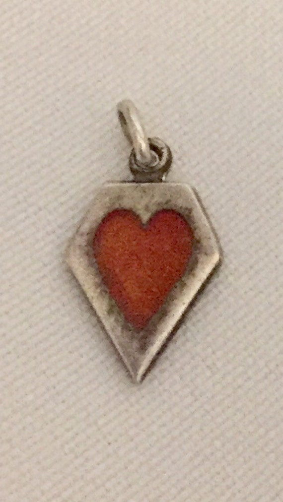 """FREE SHIPPING-Vintage-1940's-Sterling Silver-Memory-Red-Guilloche-Enamel-Heart-Charm-Engraved """"Elmer"""""""