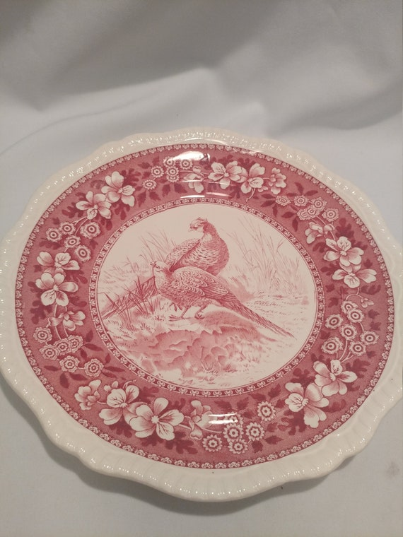 "Free Shipping- Vintage Spode Copeland England Wild Game Plates. Red Transfer Ware. 10"" Diameter. "" Pheasant # 6"""