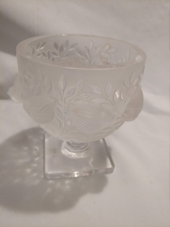 "FREE SHIPPING- Beautiful Lalique France 5.5"" Elizabeth Birds Crystal Bowl Vase. Square Base. Etched with Lalique France on Base"