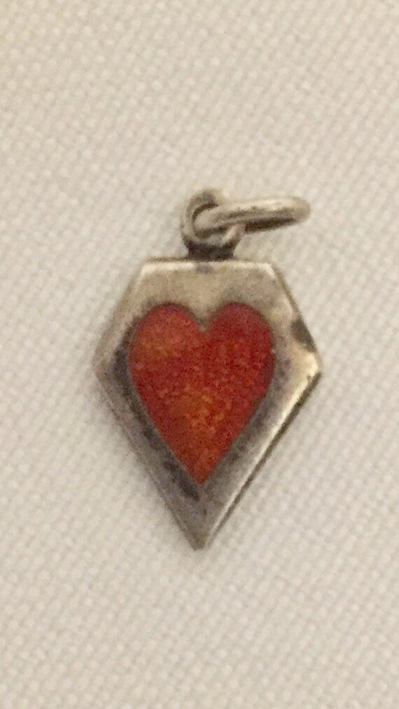 "FREE SHIPPING-Vintage-1940's-Sterling Silver-Memory-Red-Guilloche-Enamel-Heart-Charm-Engraved ""Sweet"""