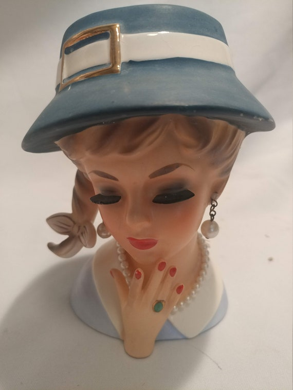 FREE SHIPPING- RARE! Enesco Teen Head Vase with Braid and Hat with Gold Buckle. Side Braid Tied with Gold Accented Bow.