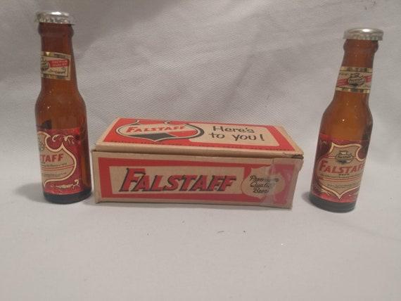FREE SHIPPING- Vintage Glass Falstaff Beer - Miniature Glass Bottle Salt & Pepper Shakers in Original Box.