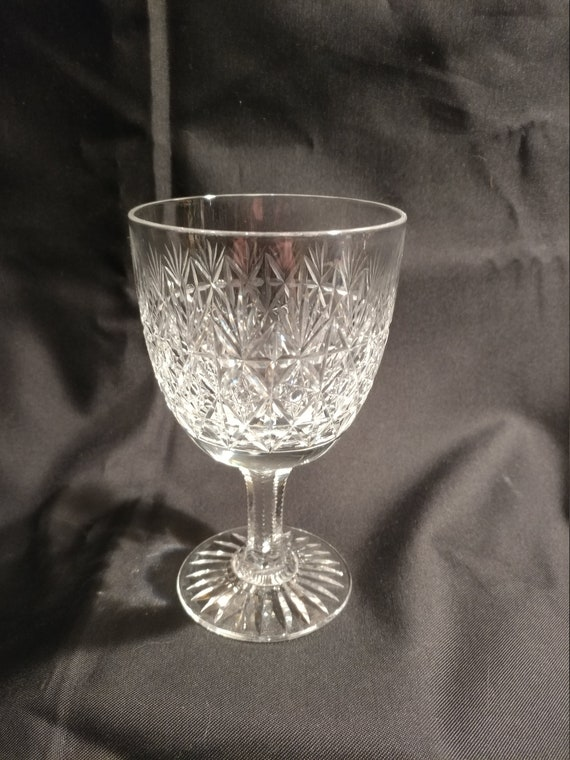 """FREE SHIPPING- Thomas Webb & Sons """"Wellington"""" Crystal Water Goblet.  Sized 5-1/2"""" Tall. Cut Palm Fans, Diamond Pattern and 8 Pointed Star"""