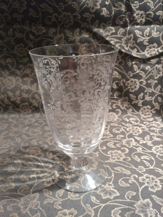 """FREE SHIPPING- Fostoria Elegant Depression Glass """"Meadow Rose Clear""""  Paneled Glass Bowl, Optic Stem # 6016.  Footed Iced Tea Glass."""