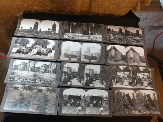 FREE SHIPPING- Set of 12 Black and White Stereoscope Photo Cards featuring images from the 1906 Earthquake that ravaged San Francisco
