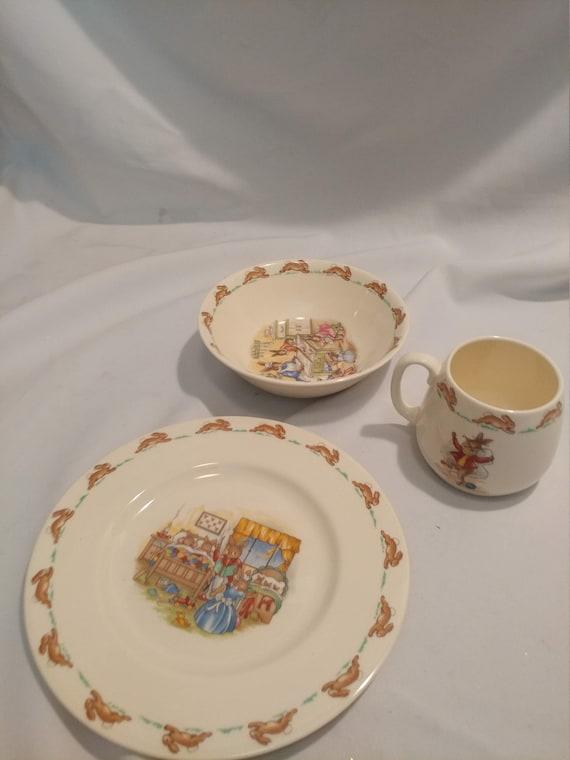 FREE SHIPPING-Royal Doulton English Fine Bone China Bunnykins 3 Pc. Child's Place Setting: Cup, Plate & Bowl