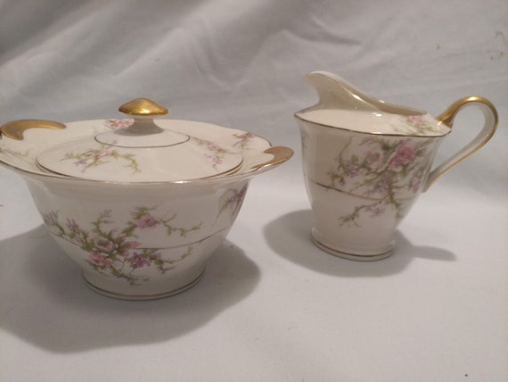 """FREE SHIPPING- Porcelain Thomas Haviland, New York Creamer Pitcher & Covered Sugar Bowl. """"Rosalinde"""" Pattern. Floral with Gold Accents"""