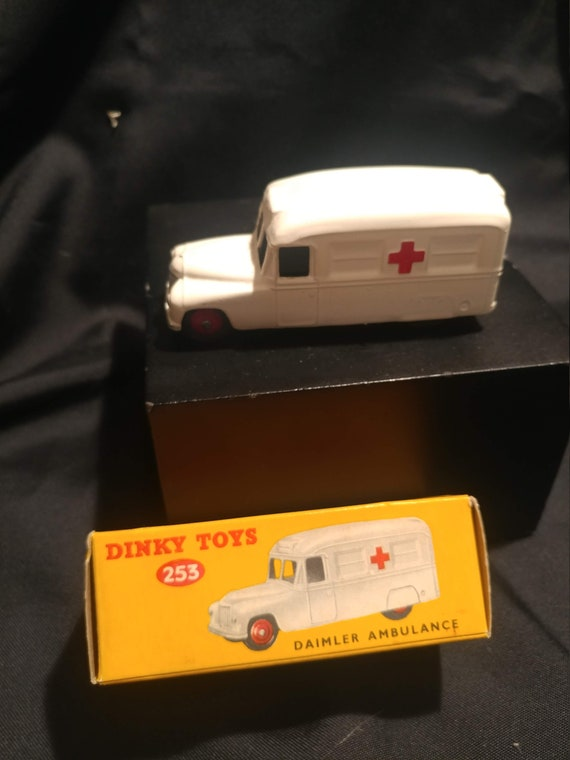 FREE SHIPPING- Vintage Dinky Toy Car in Original Box # 253- White Daimeler Ambulance. Near Mint Condition!