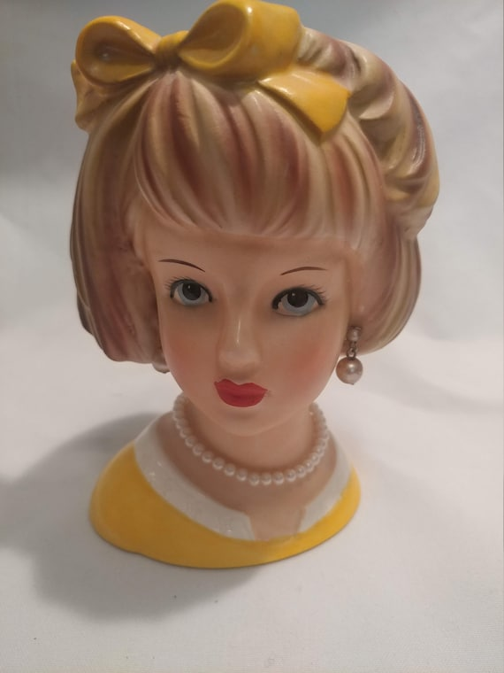 FREE SHIPPING-  Porcelain Lady Head Vase. Relpo # 2011. Sunny Yellow Dress and Bow. Faux Pearl Dangle Earrings and Necklace