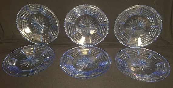 FREE SHIPPING-6-Vintage-1940's-Blue-Cut-Orrefors-Swag-Draped-Plates-7 7/8 Inches-Sweden