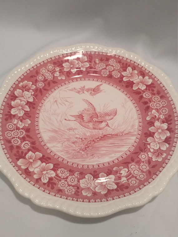 """Free Shipping- Vintage Spode Copeland England Wild Game Plates. Red Transfer Ware. 10"""" Diameter. """"Woodcock #2"""""""