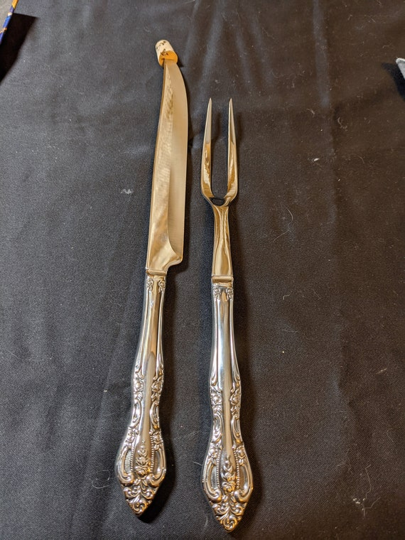 FREE SHIPPING- Vintage, Long Handled Stainless Steel by Imperial Roast Carving Set. Brahms Pattern- Knife and 2 Pronged Fork