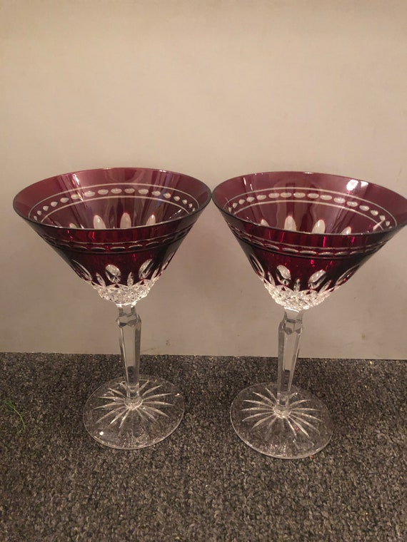 FREE SHIPPING-Pair of Waterford Clarendon-Ruby-Cut To Clear-Hand Blown-Signed Martini Stems
