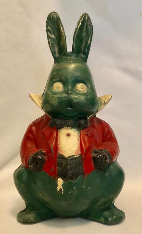 Antique-Hubley-Grandpa Rabbit-Cast Iron-Alice In Wonderland-Doorstop