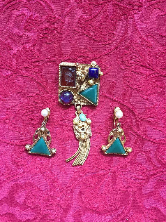FREE SHIPPING - Kramer New York - Vintage Brooch-Earring Set