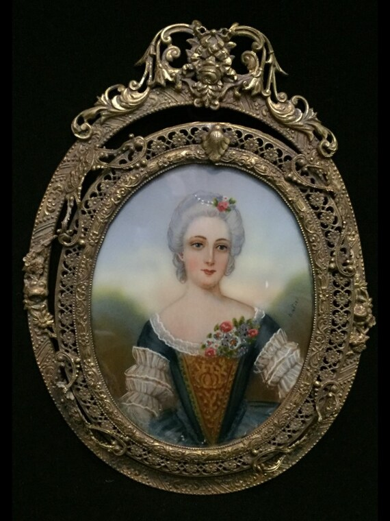 FREE SHIPPING-Antique-Signed-Nattier-Hand Painted-Miniature-Portrait-Madame Louise De France-Royal Ormolu-Gilt-Bronze-Filigree-Frame
