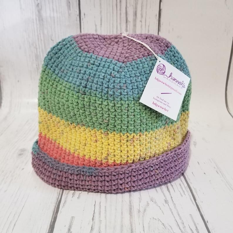 Crochet Beanie Rainbow Cotton Striped with Brim