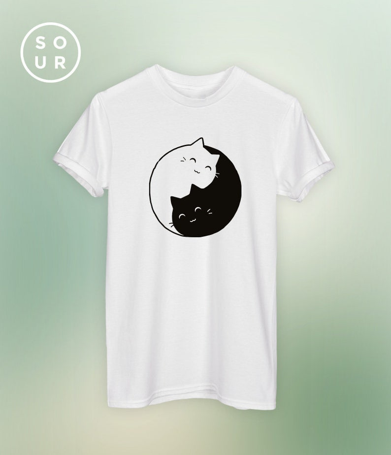 Yin Gattini Animali KawaiiEtsy Top Gatti T Yang Unisex Shirt Amore kXOPiZu