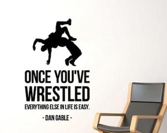 Wrestling Motivational Poster Print Dan Gable Shoes Kids Room Wall Artwork Decor