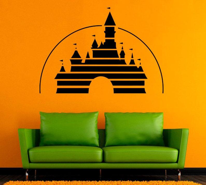 disney logo wall interior design castle vinyl decal bedroom | etsy