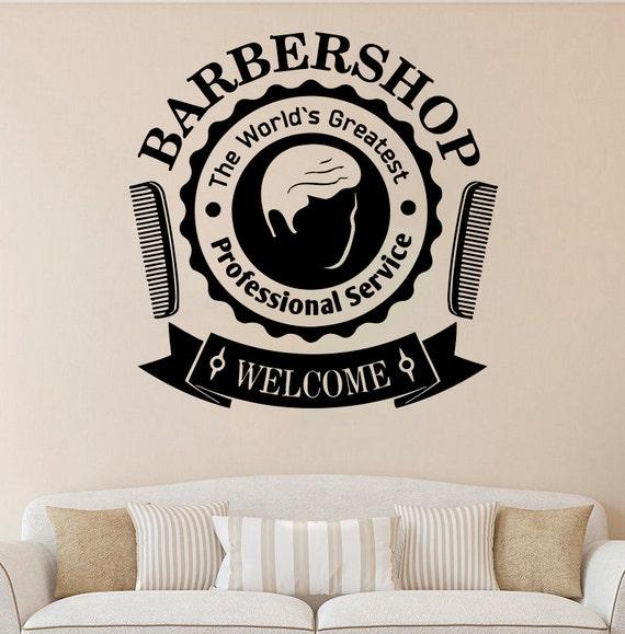barber shop vinyl sticker barber shop wall decal salon vinyl | etsy