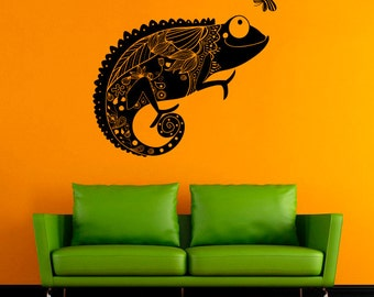 Chameleon Wall Decal Chameleon Vinyl Sticker Animals Vinyl Decals Wall Vinyl Decor /3krq/