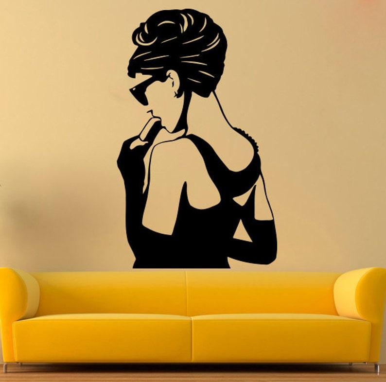 Adesivi Murali Audrey Hepburn.Celebrita Vinyl Decal Audrey Hepburn Adesivo Attrice Stickers Etsy
