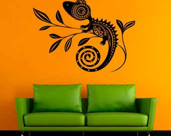 Chameleon Vinyl Sticker Chameleon Wall Decal Animals Wall Decals Wall Vinyl Decor /8krq/