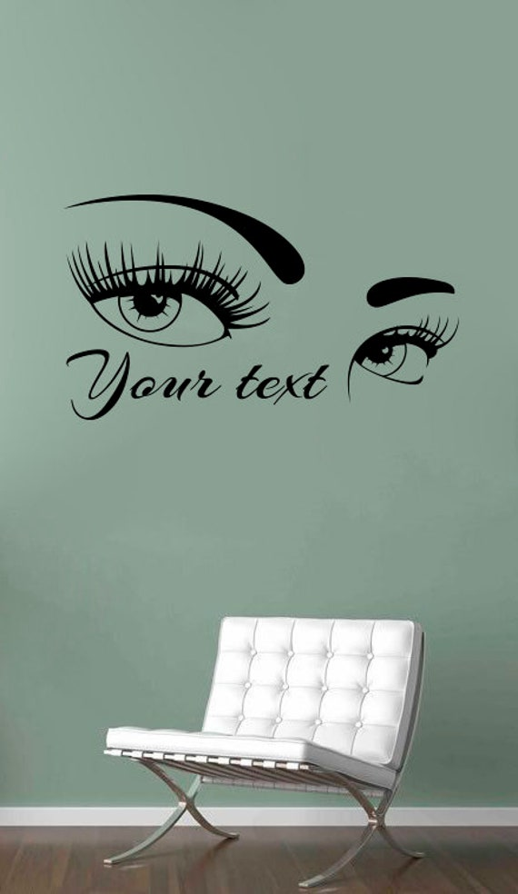 eyes wall decal personalized beauty shop logo vinyl sticker | etsy