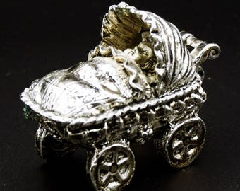 Vintage Tin Tooth Fairy Trinket Box Baby Stroller Baby Wagon