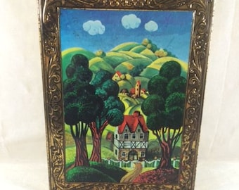 Beautiful Vintage Scenery Tin Box Vintage Tin Box With Nature Scenes House In The Hills Vintage Landscape Tin Box