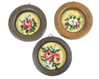 Vintage Set Of 3 Miniature Wooden Frames With Cross Stitch Flowers Vintage Mini Frames Wooden Small Frames