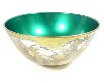 1 Large Vintage Green Silver Plate HK Denmark Bowl Danish Design Scandinavian Design Designer Bowl Dish