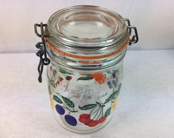 French Glass Storage Container - Made in France - Vintage Glass Kitchen Jar - 1 Litre Jar
