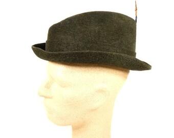 Vintage Chapeau Flechet Dark Green Brown Fedora Dirndl Hat Vintage Retro Design