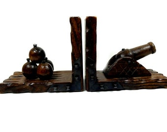 Big Vintage Wooden Cannon And Shot Bookend Cannon Balls Unique Bookends Book Ends Book Lover Book Gift
