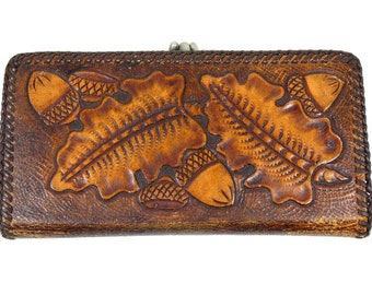 Vintage Brown Acorn Wallet Leather Wallet Coin Purse Evening Gown Bag Coin Purse Pouch Clutch