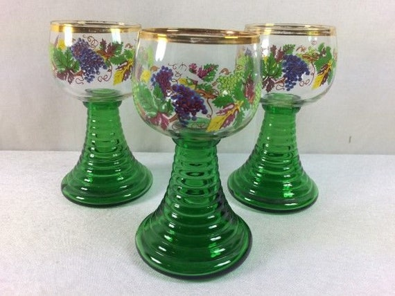 3 Hand Painted Roemer Glasses Vintage
