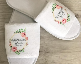 953fee36d Personalised serenity printed floral wedding slippers