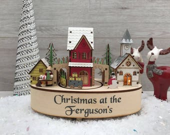 personalised wintertime led music box wooden christmas decoration - Wooden Led Christmas Decoration