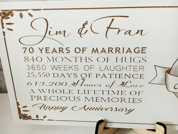 70th Anniversary Wedding Plaque With Quote Engraved And Stand Etsy