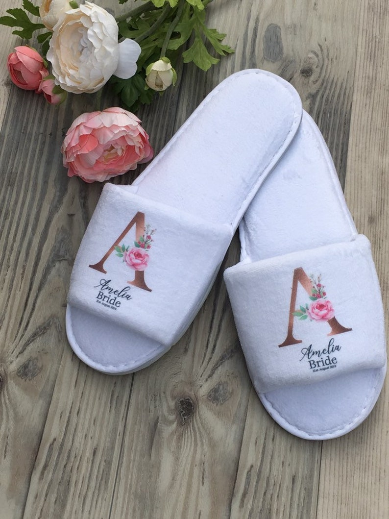 5f65a6f39fa42 Personalised Jessica printed floral wedding slippers, bridal slippers  deluxe velour open toe slippers bridesmaid gift, hen slippers
