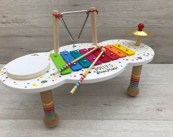 Music table personalised with message of your choice - Christening gift - Birthday gift - xylophone - children's music set